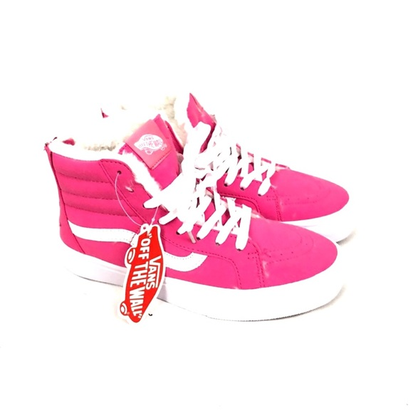 dec23a872a2 Neon Pink Vans Fur Lining Sk8 Hi Slim Sneaker Shoe